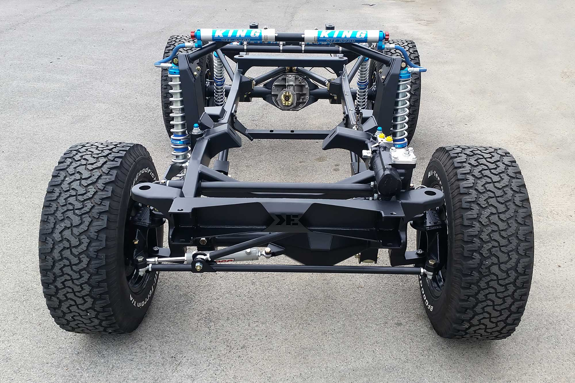 Krawlers Edge Early Bronco Chassis on Custom Roll Cage Scout Ii
