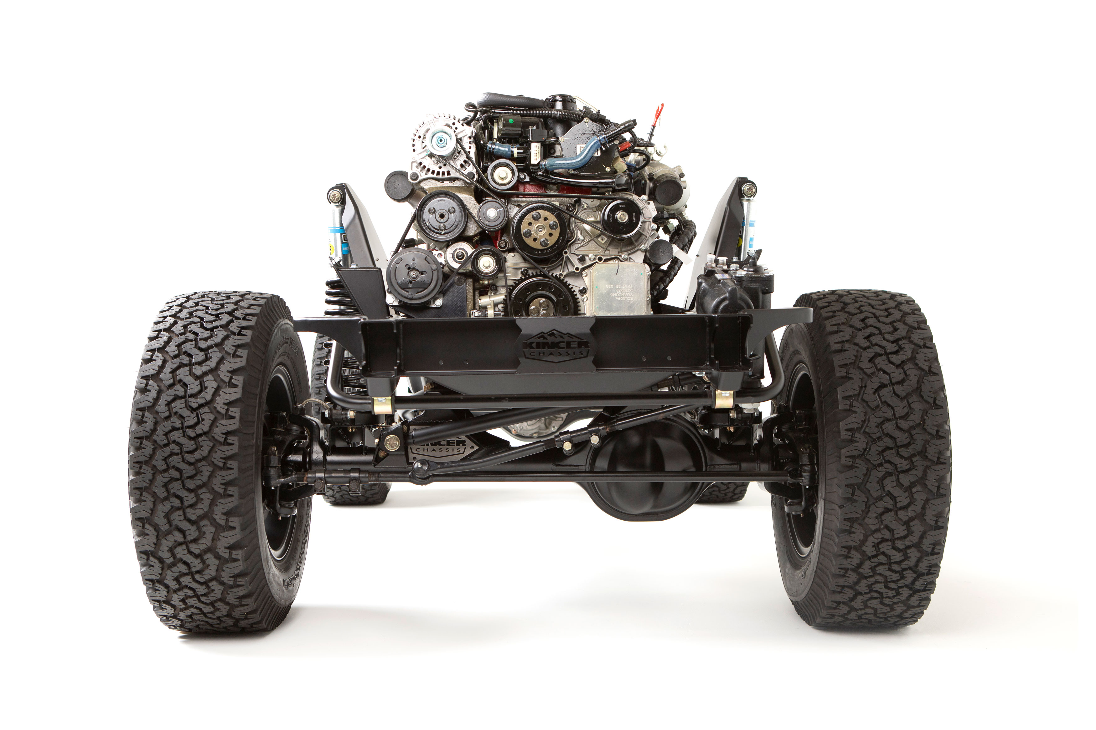 Custom Early Bronco with 4-link system by Krawlers Edge